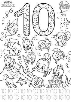 Number 10 - Preschool printables - worksheets coloring pages for kids (Learning numbers, counting 1-10) - Broj 10 - Bojanke za djecu - brojevi, radni listovi BonTon TV #numbers #preschool #brojevi #coloringpages #worksheets #printables