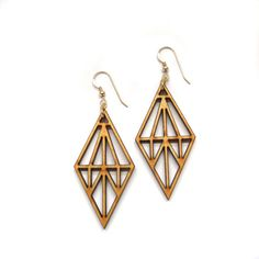 45% off! Usually $35. Limited quantities left.  Laser cut earrings in birch wood. Part of our Truss collection, these earrings are inspired by ancient