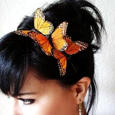 MARISSA - three monarch butterflies headband - bohemian hair accessory
