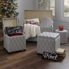 Organize your living room and add style to your home with the Black Arrows Storage Trunk and Ottomans.