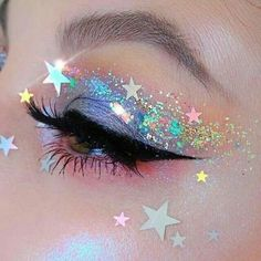 62 Ideas For Makeup Pink Eyeshadow Glitter Make Up Makeup Eye Looks, Eye Makeup Art, Pretty Makeup, Beauty Makeup, Star Makeup, Glitter Makeup Looks, Rave Eye Makeup, Prom Makeup, Perfect Makeup