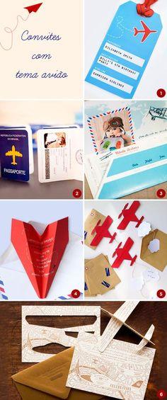 Convites com tema avião, Festa infantil avião