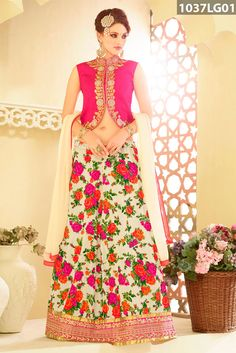 Cream art silk lehenga designed with floral print, zari, resham embroidery and patch border work. Pink art silk choli and cream chiffon dupatta are available with this.Price US$ 60