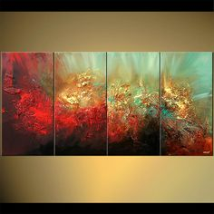 Original abstract art paintings by Osnat - textured red and gold abstract painting