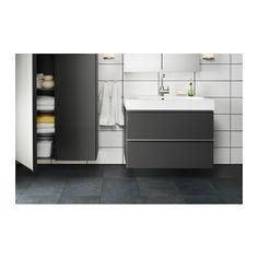 GODMORGON / BRÅVIKEN Sink cabinet with 2 drawers, gray high gloss gray high gloss gray 31 1/2x19 1/4x26 3/4