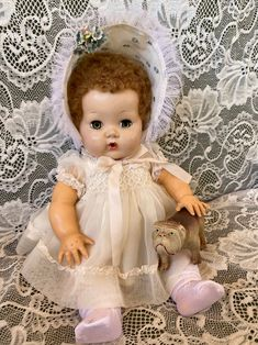 Vintage early 1950s Chiffon baby doll Dress with ruched   Etsy Drop Seat Pajamas, Small Baby Dolls, Rock A Bye Baby, Happy Memorial Day, Little Bow, New Dolls, Vintage Fabrics, Babydoll Dress, Doll Clothes