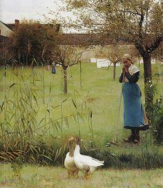 Les jardins de la pension Laurent - Louis Welden Hawkins Anglais . 1849 - 1910 .