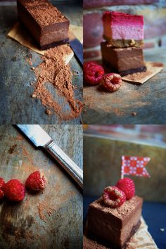 raw food raspberry and chocolate dessert/ Didn't look too much like a slice of cake, but was delicious nonetheless Desserts Crus, Raw Dessert Recipes, Raw Vegan Desserts, Vegan Sweets, Healthy Desserts, Raw Food Recipes, Healthy Food, Chocolate Slice, Healthy Chocolate