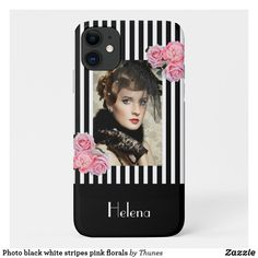 Shop Photo black white stripes pink florals Case-Mate iPhone case created by Thunes. Personalize it with photos & text or purchase as is! Photo Black, Black White Photos, Black White Stripes, Black And White, Pink Roses, Pink Flowers, Iphone Cases, Iphone 11, White Letters