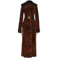 Shearling Long Coat | Moda Operandi (125.500 BRL) ❤ liked on Polyvore featuring outerwear, coats, sheep fur coat, slim long coat, longline coat, brown shearling coat and long length coats