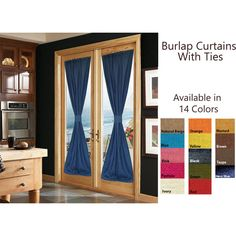 Custom Curtains -French Door Curtains With Ties -Burlap Curtains... (3,925 INR) via Polyvore featuring home, home decor, window treatments, curtains, door window curtain, door curtain, french door window treatments and door window coverings
