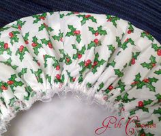 Holly Berry Shower Cap  Waterproof  Durable Soft by GiftCreation, $18.50