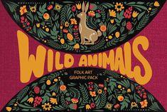 Wild Animals folk art set by ComelyPics Shop on @creativemarket