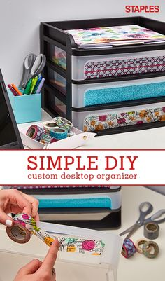 Desktop bins keep everything neat and tidy. Now you can stay organized in style with this washi tape DIY. Add the pretty patterned tape of your choice to make your desktop organizer totally you. Find the supplies you need at Staples.