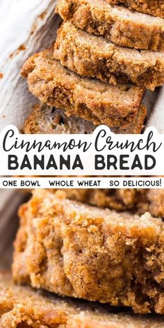 whole wheat cinnamon crunch banana bread is SO good! Made with whole wheat flour, healthy Greek yogurt, mashed banana, eggs and oil. The cinnamon streusel crunch topping is SO good. Great for a special breakfast treat that's still a little healthier. Köstliche Desserts, Delicious Desserts, Dessert Recipes, Healthy Desserts, Cinnamon Desserts, Recipes Dinner, Healthy Recipes, Thm Recipes, Simple Recipes