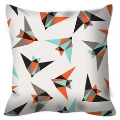 Paper Birds Throw Pillow  Change your entire space for the season or decorate for a special event. Throw Pillows liven up any room with a pop of color and modern style.