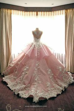 Soft pink ball gown wedding dress with white embellishments // Filipino designer Mak Tumang studied Pretty Quinceanera Dresses, Cute Prom Dresses, Ball Dresses, Pink Ball Gowns, 15 Dresses, Wedding Evening Gown, Evening Gowns, Debut Gowns, Debut Dresses