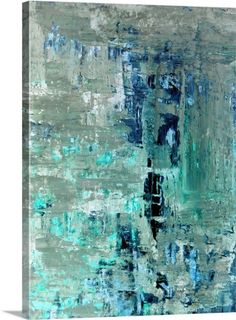Generous - Modern blue and beige abstract painting