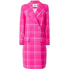 Fendi checked tailored coat ($3,440) ❤ liked on Polyvore featuring outerwear, coats, multi coloured coat, fendi, pink coat, fendi coat and double breasted coat
