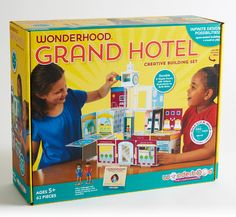 Wonderhood Grand Hotel! Design and build anything you can imagine, using 24 beautifully illustrated panels, a colorful staircase, and a working elevator! •Teaches real STEM concepts of architectural design and structural engineering •Develops creativity, hands-on problem solving, spatial and fine motor skills, and self-confidence. #68841830 | $59.95
