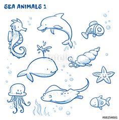 Vektor: Cute cartoon sea water animals. Whale, fish, dolphin, jellyfish, seahorse, snail, ray, starfish. Hand drawn doodle vector illustration.