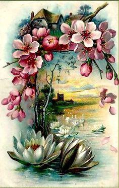 Enjoy your afternoon,xxx❤❤❤💌🍀❄🍀 Images Vintage, Vintage Cards, Vintage Paper, Vintage Postcards, Vintage Flowers, Vintage Floral, Fabric Paint Designs, Cottage Art, Decoupage Vintage