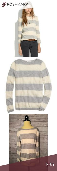 Madewell Softstripe Sweater Madewell striped sweater. So soft and cozy! Has pilling through out as shown. Size large. ✨ Feel free to ask any questions. No trades or outside transactions. Offers welcomed. Bundle to save more! Madewell Sweaters Crew & Scoop Necks
