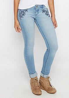 Flex Vintage Stitched Flower Skinny Jean