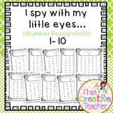 """""""I Spy"""" Number Recognition Worksheets #1-10 is a great resource for preschool and kindergarten classrooms.  Created by That Creative Teacher"""