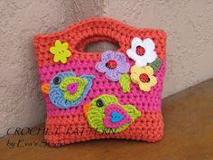 Girls Bag / Purse with Birds and Flowers  Crochet Pattern