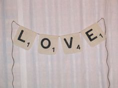 Scrabble Banner  ....  Love Banner ....  by expressionsindesign, $18.00