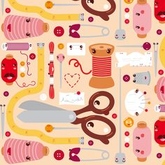 Sewing stuff (kawaii) fabric by verycherry on Spoonflower - another awesome custom fabric  I love whimsical cartoony things.