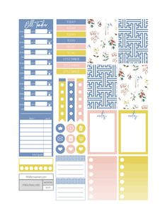 In Her Garden themed printable planner stickers. Includes free printable planner stickers for the classic size Happy Planner.  Can also be cut down to fit the Erin Condren Life Planner or any of your favorite planners and inserts.