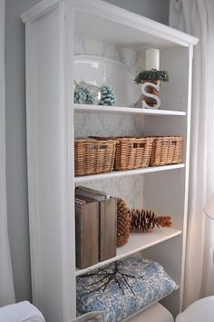 Love this makeover of an IKEA shelf. Restoration House... has the best ideas!