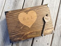 Medium wooden suitcase style guest book box with personalized pen! This box has a double latch front closure and metal handle. A must have for any