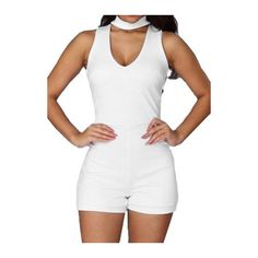 Rotita Solid White V Neck Sleeveless Romper (36 BAM) ❤ liked on Polyvore featuring jumpsuits, rompers, white, sleeveless rompers, v neck romper, print romper, playsuit romper and white romper
