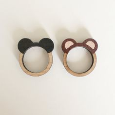 Brown Grizzly Bear Ears Bamboo Ring