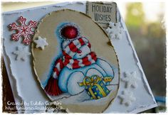 """Sweet Snowman"" Penny Black cling stamp, coloured with Prismacolor Premier pencils on Kraft paper Bazzill - by L'Universo di Eu"