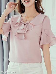Round Neck Patchwork Plain Blouses , Buy Affordable And Fashionable Women's clothing Online. Buy Shoes, Bags, Dresses Etc. V Neck Blouse, Blouse Dress, Short Sleeve Blouse, Cheap Blouses, Blouses For Women, Women's Blouses, Blouse Styles, Blouse Designs, Chiffon Ruffle
