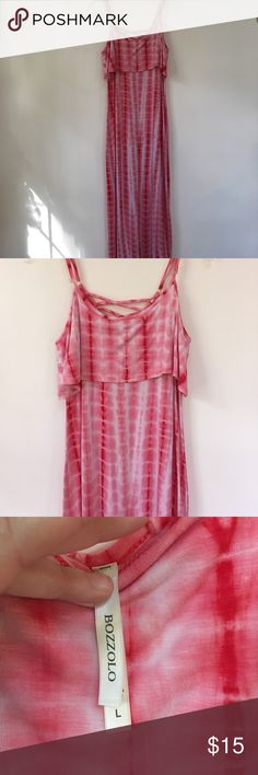Bozzolo size L red tie dyed style dress - euc Bozzolo size L red tie dyed style dress - euc.  Adjustable straps make this a great customized fit.  95% rayon 5% spandex make this dress very movable and comfortable.  Small crisscross pattern on the back bozzolo Dresses Maxi
