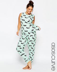 Image 3 - ASOS CURVE - Ensemble de pyjama débardeur et leggings imprimé mouffettes