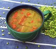 A pot of slow-cooked, savory split pea and ham soup is the perfect way to knock the chill out of winter (and to get ride of the ham bone you have been storing.)