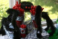 Used Halloween Spider with red licorice TNT for Minecraft party decoration!