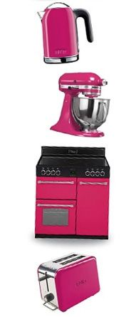 Belling Classic 90 range cooker in 'Floral Burst' pink. Part of the Colour Boutique collection. Shown paired with various small kitchen appliances from KitchenAid and Kenwood.