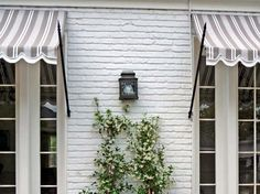 Easy Pieces: Window Awnings - Gardenista I have always loved awnings. Especially love the hardware on theseI have always loved awnings. Especially love the hardware on these Deck With Pergola, Patio Roof, White Pergola, Pergola Cover, Pergola Plans, Pergola Kits, Awning Patio, Pergola Shade, Exterior Paint