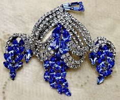 Vintage Kramer of New York Blue Heart Rhinestone Brooch Earrings Demi