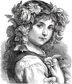adult engraving flower girl 1868 coloring pages printable and coloring book to print for free. Find more coloring pages online for kids and adults of adult engraving flower girl 1868 coloring pages to print. Graphics Fairy, Free Graphics, Clip Art Vintage, Vintage Images, Free Printable Art, Vintage Fairies, Adult Coloring Pages, Free Coloring, Digital Stamps