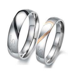 Valentines Titanium Steel Heart Shape Puzzle Couples Rings