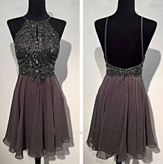 Bg100 Short Prom Dress,Grey Chiffon Prom Dress,Open Back Homecoming Dress,Beautiful Homecoming Dress