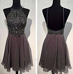 Bg100 Short Prom Dress,Grey Chiffon Prom Dress,Open Back Homecoming Dress,Beautiful Homecoming Dress